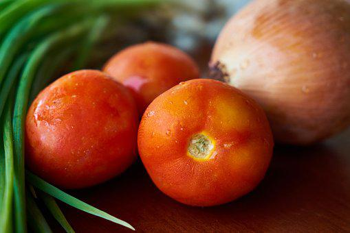 Tomato, Green, Onion, Vegetable, Food, Fresh, Texture