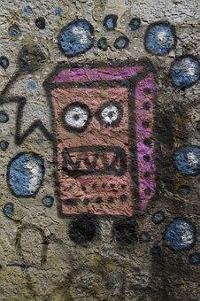Sponge Bob, Graffiti, Sprayer, Sprayed, Wall Painting