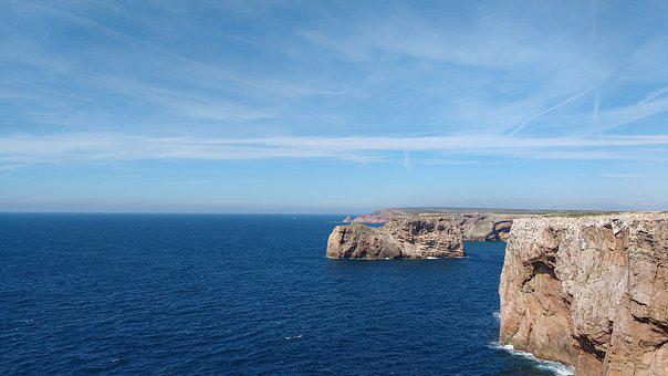 Cliff, Costa, Mar, Cable, Vincent, Algarve, Portugal