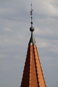 Great, Roof, Spire, Sky, Pointed, Weathervane, Brick
