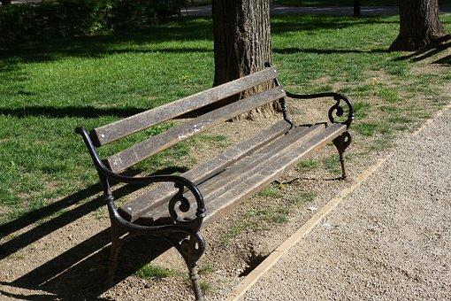 Wooden, Bench, Empty, Park, Seat, Outdoor