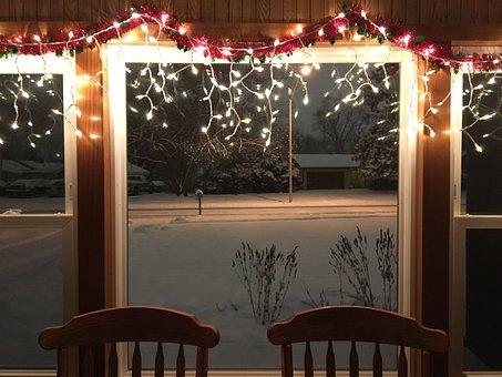 Christmas, Snow, Chairs, Window, Lights, Xmas, Holiday