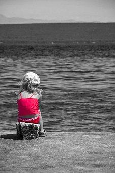 Art, Waiting, Water, Child, Black And White, Sea