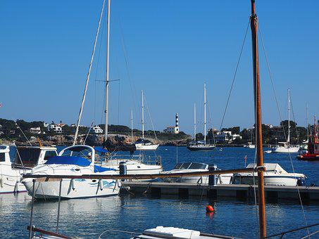 Port Colom, Lighthouse, Boot, Boats, Port, Water, Coast