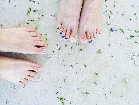 Pedicure, Sea, Beach, Foot, Friends, Travel, Sand