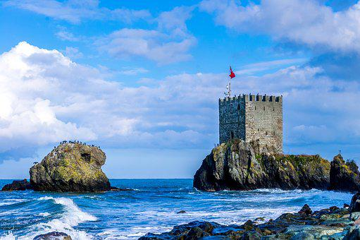 Castle, Girl, Waves, Clouds, Flag, Date-residue, Beach