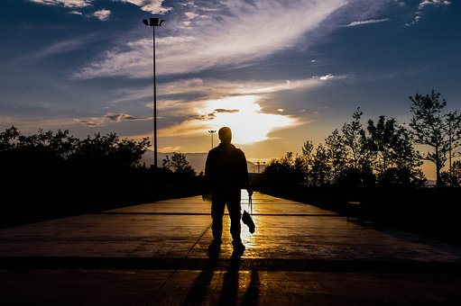 Sunset, Human, Shadow, Reverse Light, Peace, Sky