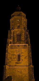 Night Photograph, Long Exposure, Tower, Brick