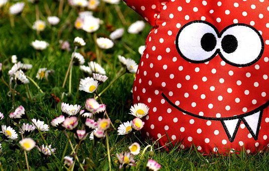 Monster, Fabric, Meadow, Floral, Daisy, Funny, Cute