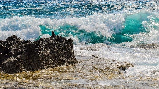 Rocky Coast, Wave, Smashing, Foam, Spray, Sea, Nature