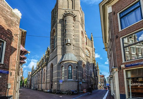 Amsterdam, Building, Old, Corner, Streets, Dutch, Blue