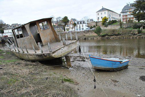 Boat, Port, Brittany, Ruin, Abandonment, Wreck, Water