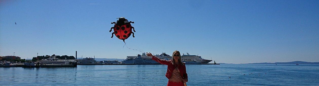 Blue Sea, Split, Croatia, Ship, Seaside, Red Jacket