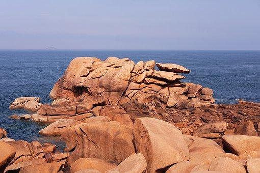 Brittany, Sea, Roche, View, Landscape