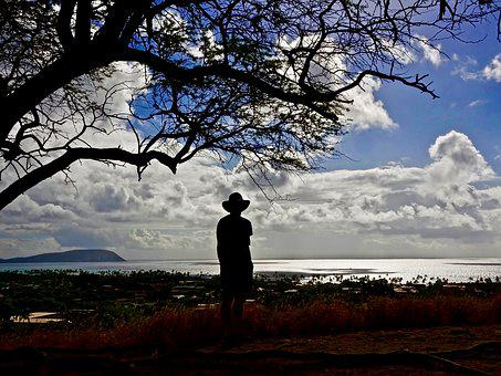 Silhouette, View, Sky, Clouds, Distant, Sea, Sunlight