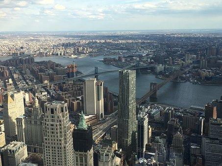 Skyline, America, One World Trade Centre, View, Evening