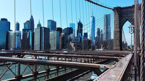 New York, Brooklyn, Bridge, United States