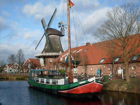 Windmill, Boot, Channels, East Frisia