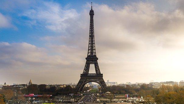 Paris, Building, Air, Blue, Eiffel Tower, Architecture