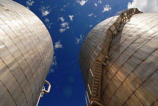 Industry, Tank, Stairs, Blue Sky, Clouds