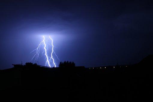 Nature, Storm, Category, Lightning, City, Twilight