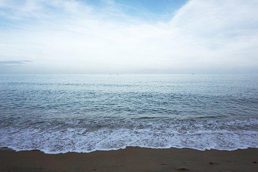 Beach, Sky, Surf, Sea, Foam, Wave, Water, Ocean