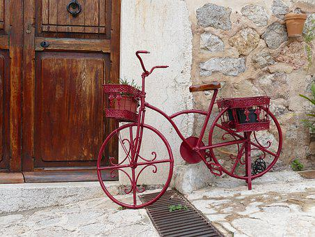 Art, Object, Bike, Red, Decoration, Metal, Hauswand