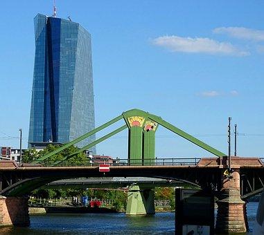 Bridge, Frankfurt, Main, River, Architecture, Skyline