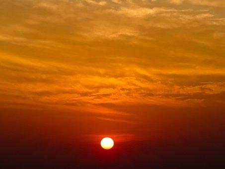Sunrise, Sun, Sunset, Sky, Sunshine, Clouds