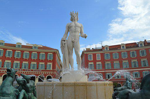 Apollo Statue, Place Massena, Nice, France, Town