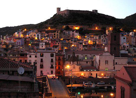 Sardinia, Bosa, City, Evening, Italy