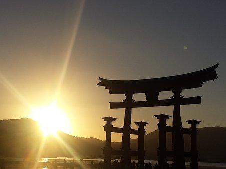 Miyojima, Japan, Island, Sunset, Tori, Gate, Hiroshima