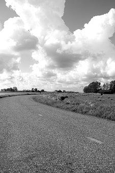 Black, White, Clouds, Road, Meadow, Nature, Holland