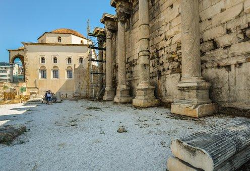 Athens, Columns, Pillars, Ruins, Classical, Ancient