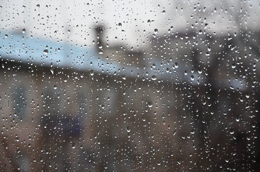 Raindrops, Window, Glass, Blur, Drops, Weather