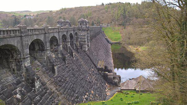 Dam, Reservoir, Wales, Water, Uk, Powys, River, Lake