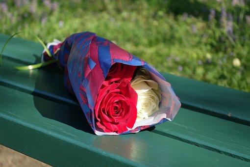 Rose Bouquet, Empty Bench, Love, Romance, Emotion