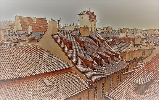 Prague, Roofs, Snow, Czech
