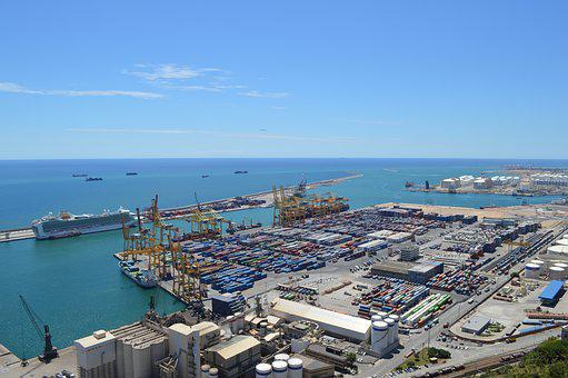 Barcelona, Port, Ships, Cargo, Spain, Europe, Sea