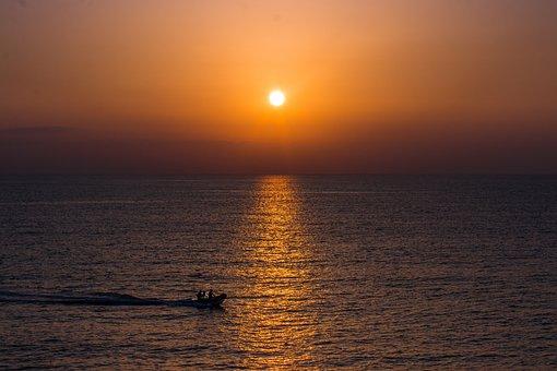 Sunset, Beach, Be, Landscape, Sun, Dusk, Waves, Boats