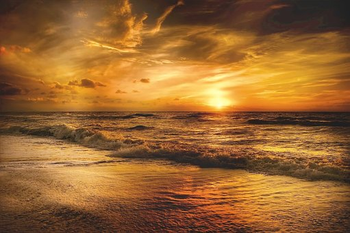 Sun, North Sea, Sea, Beach, Sky, Coast, Sunset, Clouds