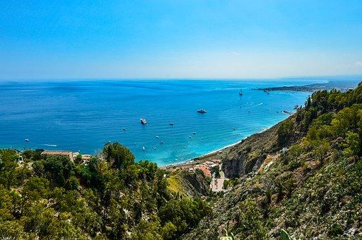 Sicily, Coast, Coastline, Travel, Italy, Ships, Shore
