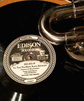 Edison, Record, Phonograph, Music, Sound, Audio