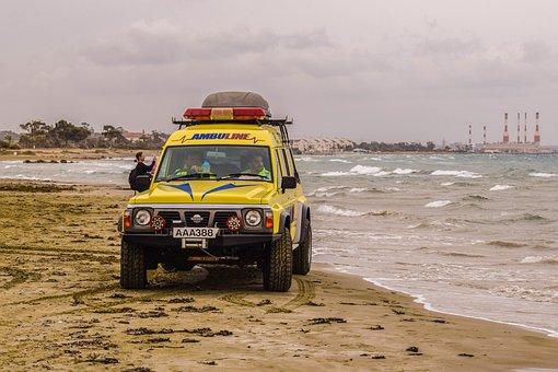 Ambulance, Patrol, Beach, Emergency, Rescue, Yellow