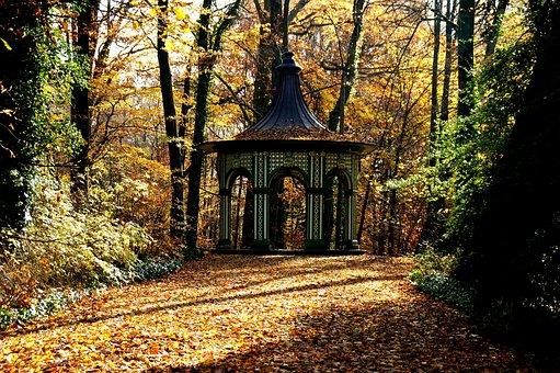 Autumn, Pavilion, Leaves, Trees