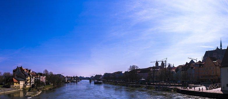 Panorama, Regensburg, Danube, City, Water, Germany