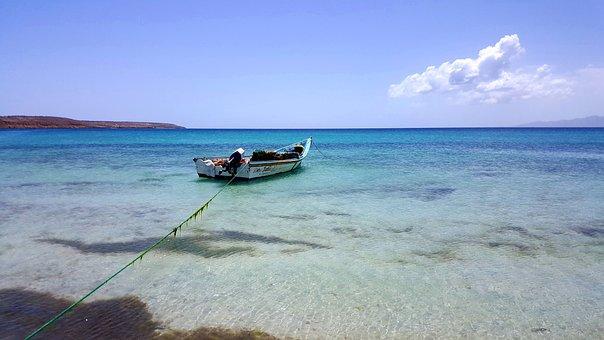 Anchored, Boat, Coast, Sea, Water, Travel, Ocean
