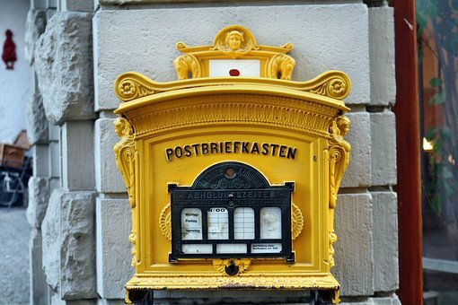Mailbox, Old, Historically, Yellow, Letter Boxes