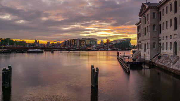 Sunset, Water, Amsterdam, Low Country, Abendstimmung