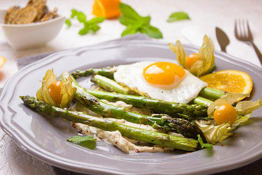 Asparagus, Fried, Orange, Vegetables, Vegetarian, Green